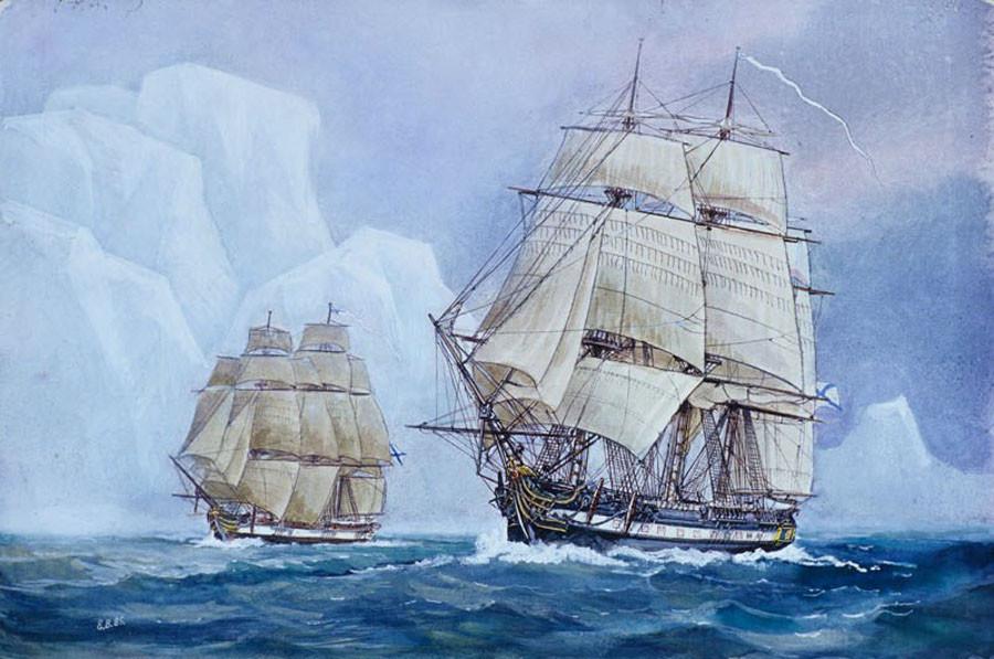 Los veleros Vostok y Mirny pintados por Y. Voishvillo y B. Starodubtsev. Fuente: Dominio público