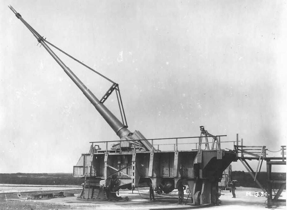 Сверхдальнобойное орудие «Колоссаль»,  установленное на стационарной позиции, 1918 г.