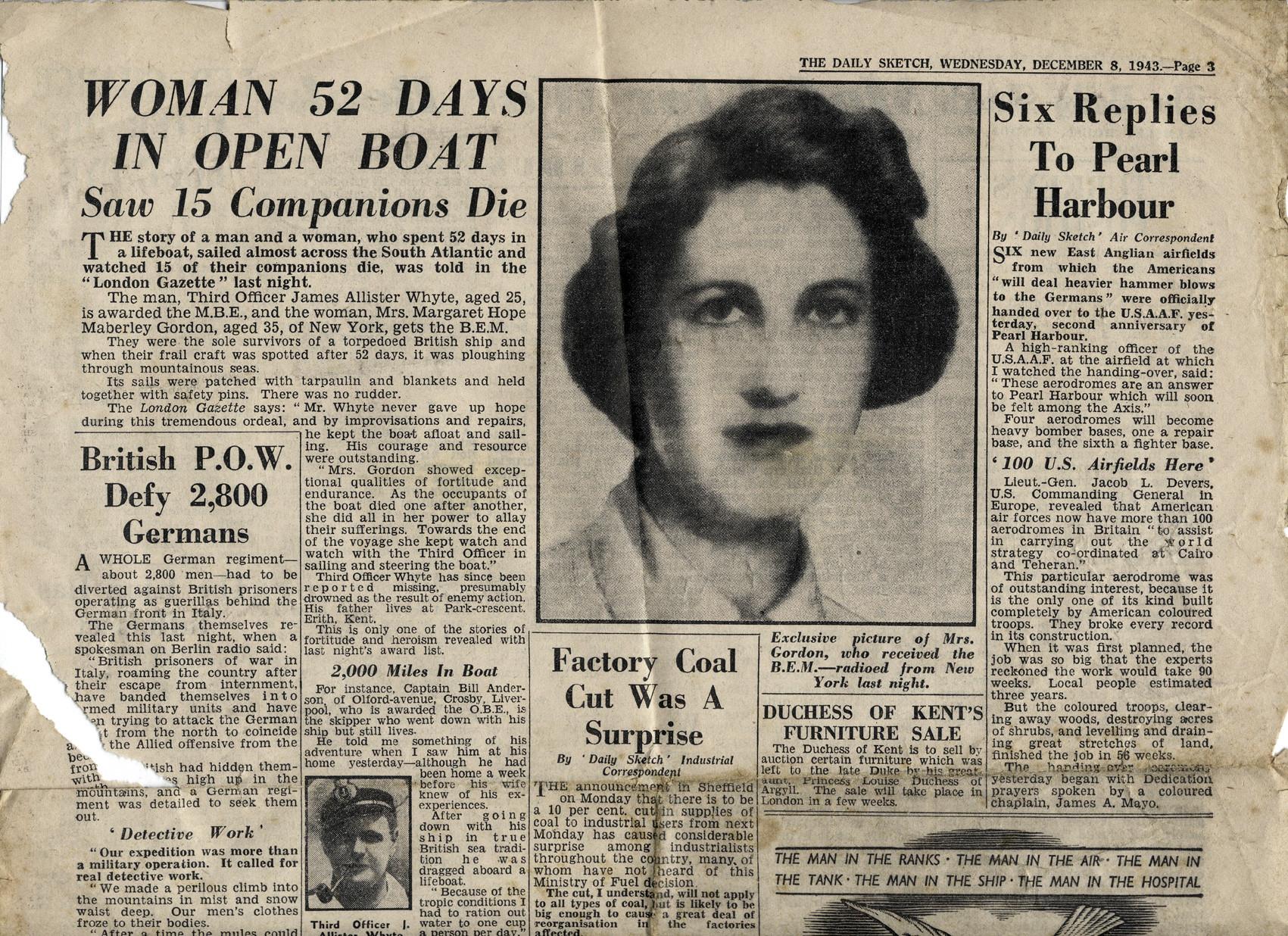 Газета The Daily sketch от 08/12/1943