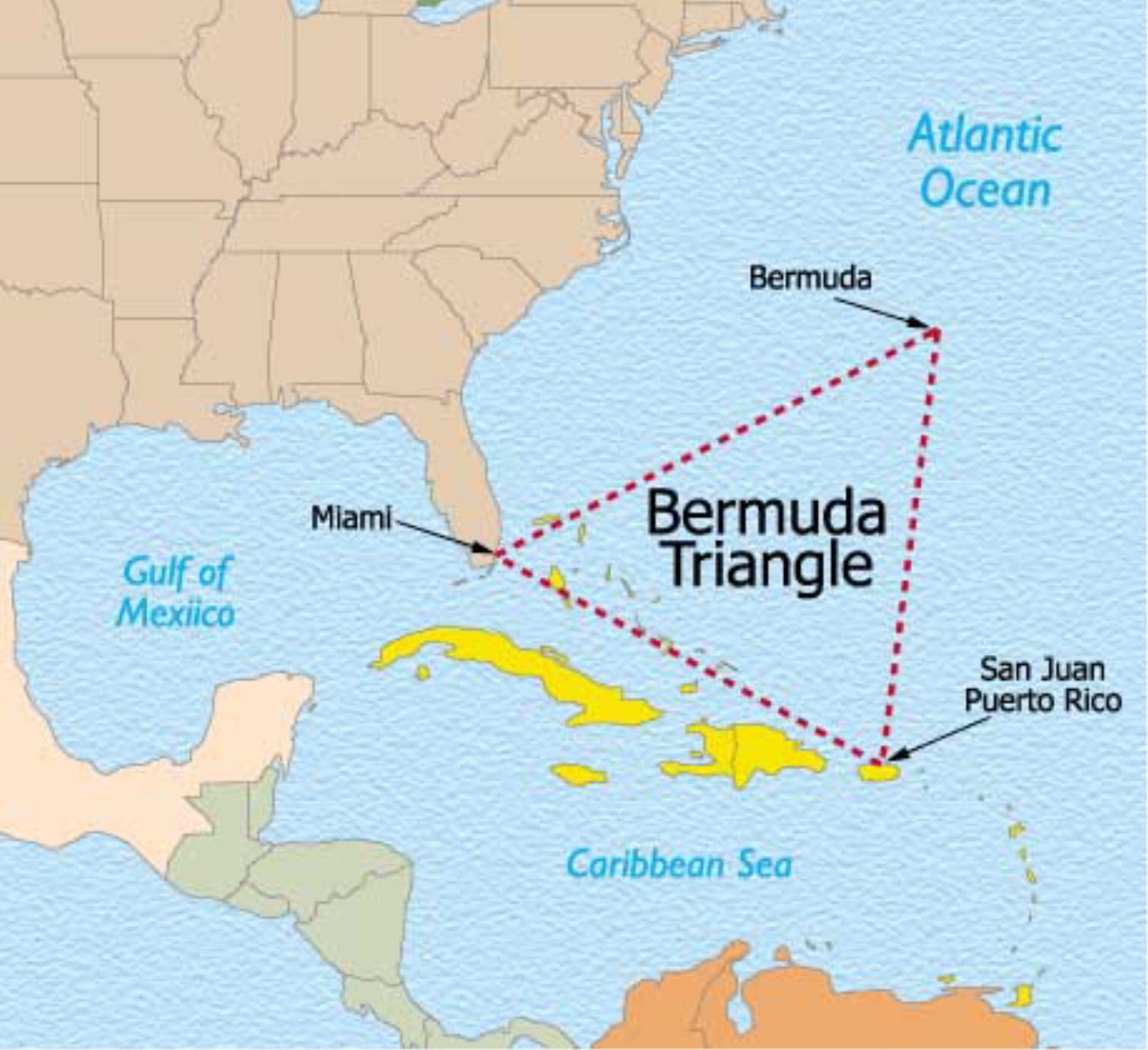 Расположение Бермудского треугольника. Саргассово море