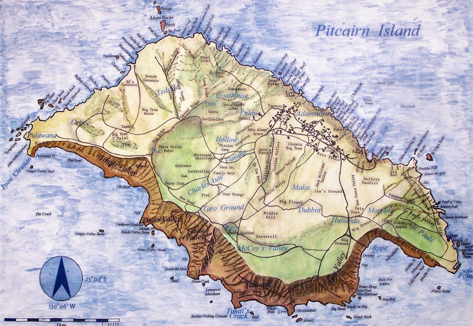 Карта острова Питкерн