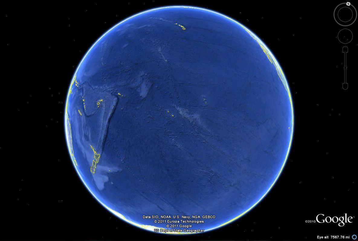 Вид Тихого океана на картах портала Гугл-Земля