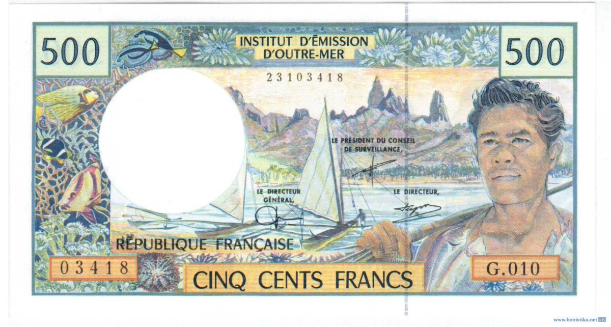 Банкнота. 500 тихоокеанских франков