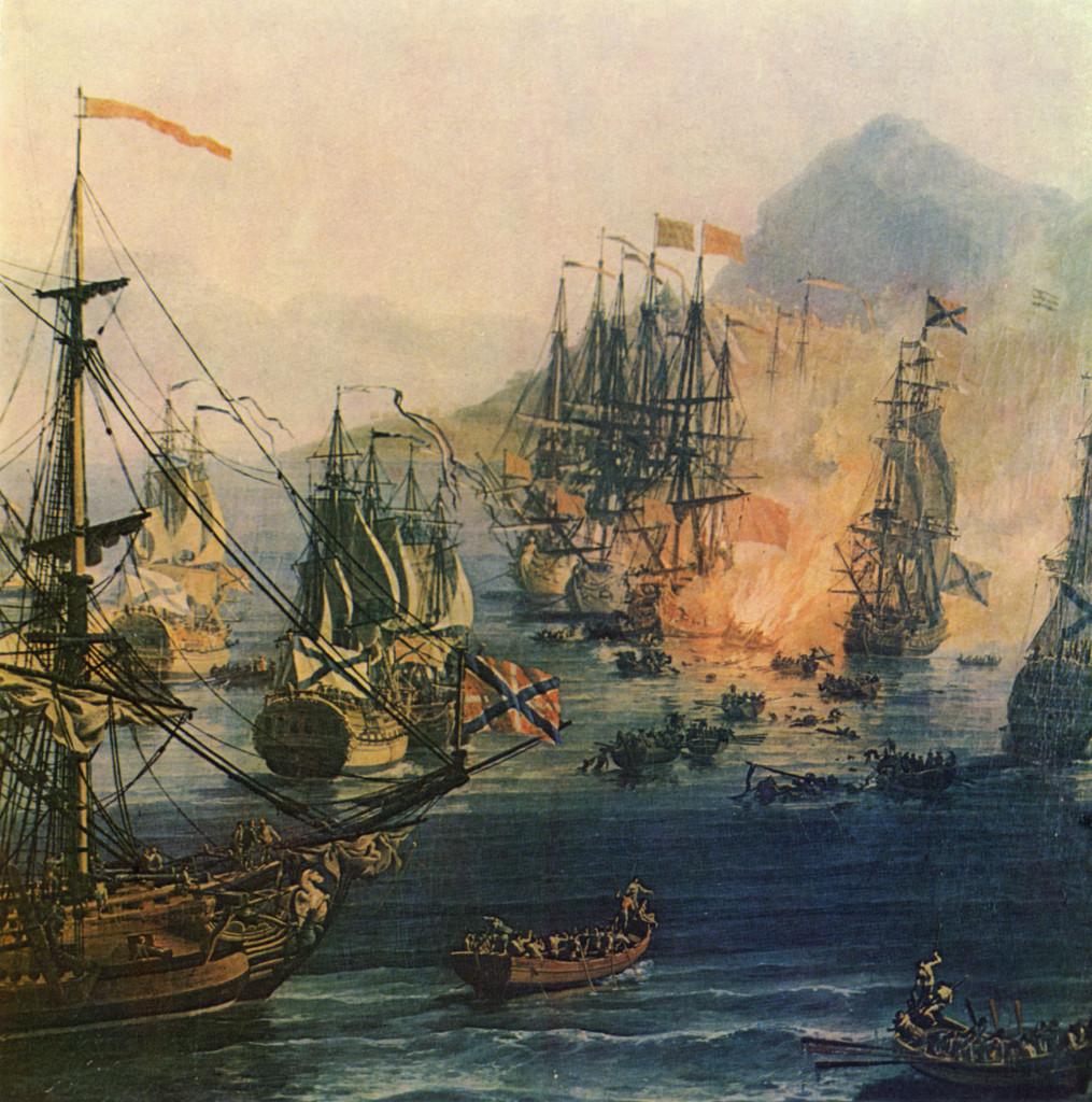 Бой в Хиосском проливе, фрагмент картины художника П.-Ж.Волэра, 1771 г. На переднем плане изображён пакетбот «Почтальон», за ним – фрегаты «Надежда Благополучия» и «Св. Николай». В центре на заднем плане – турецкие корабли, догорающий остов «Евстафия» и 66-пушечный корабль «Три Святителя»