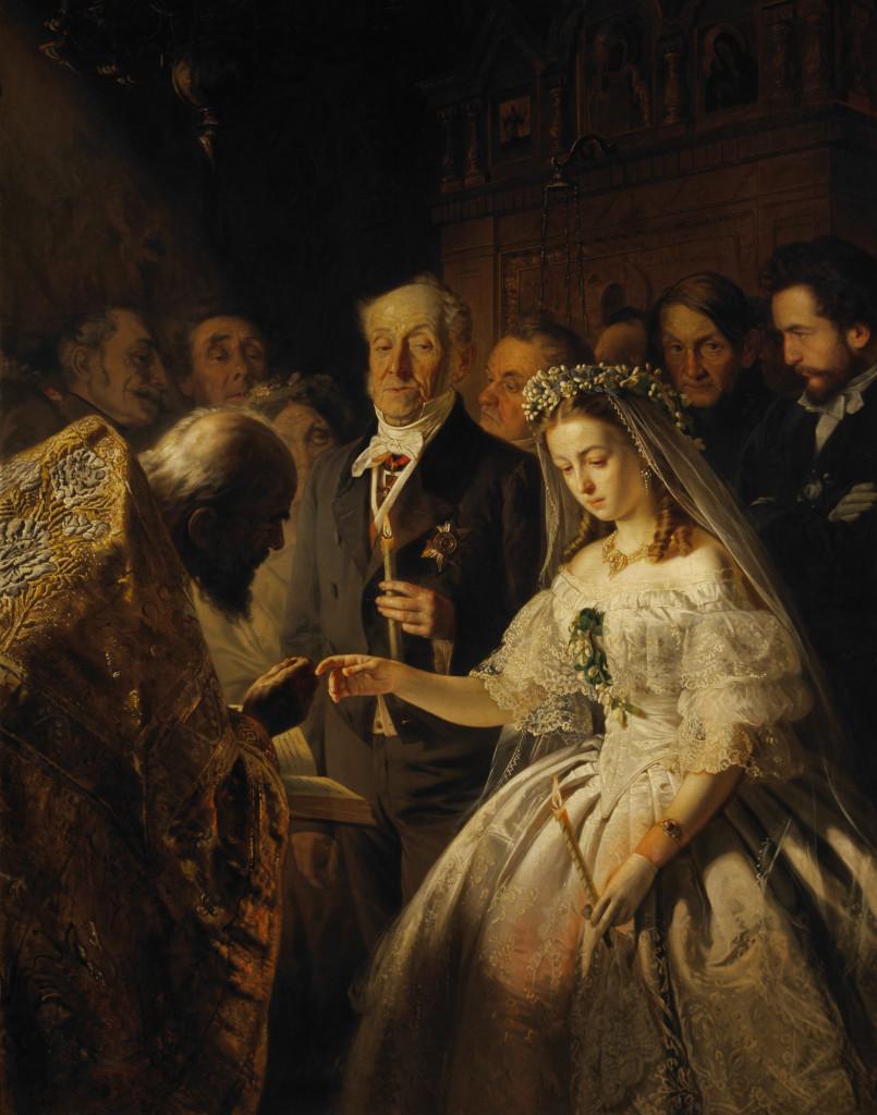 А это известная картина Василия Пукирева «Неравный брак» (1862 г.). Как говорится, найдите 10 отличий…