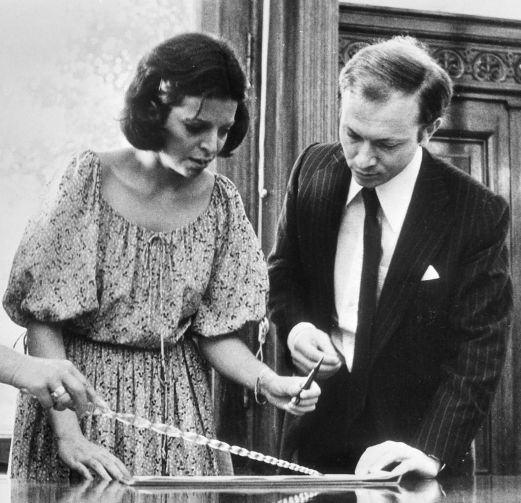 Кристина Онассис и Сергей Каузов в московском загсе, 1978 г.