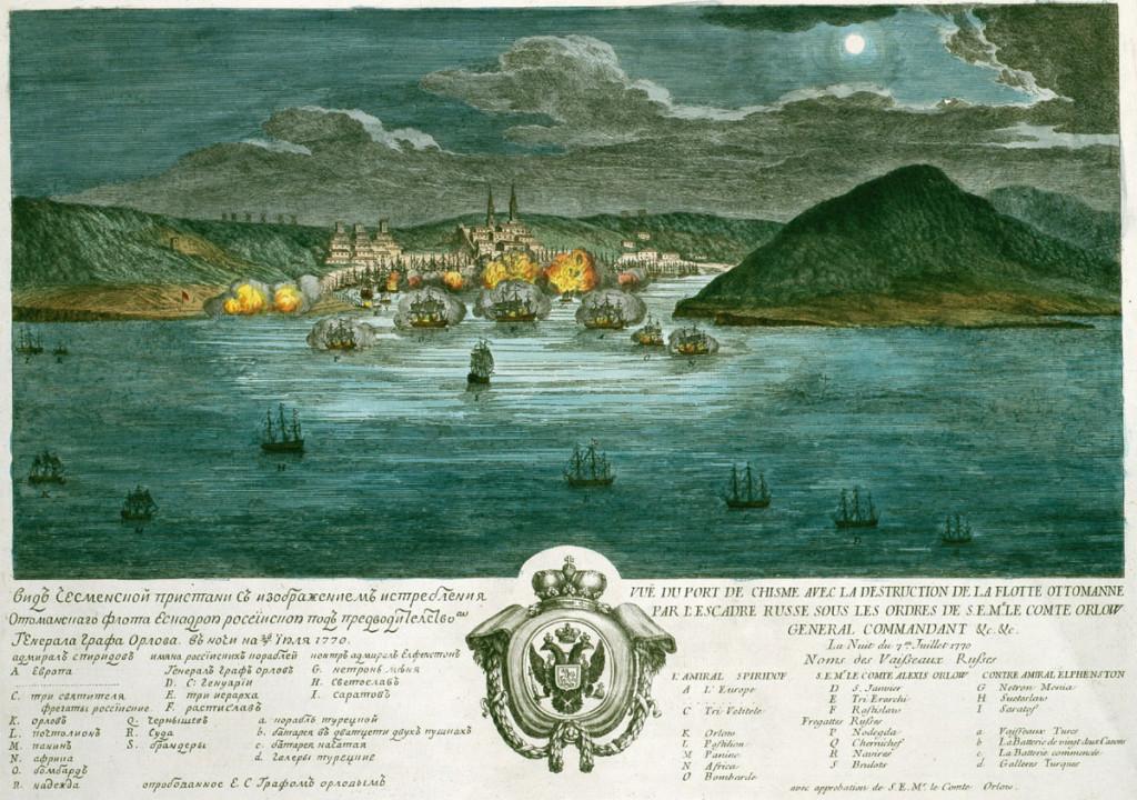 Панорама «истребления Оттоманского флота эскадрой российской» в ночь на 26 июля 1770 г.