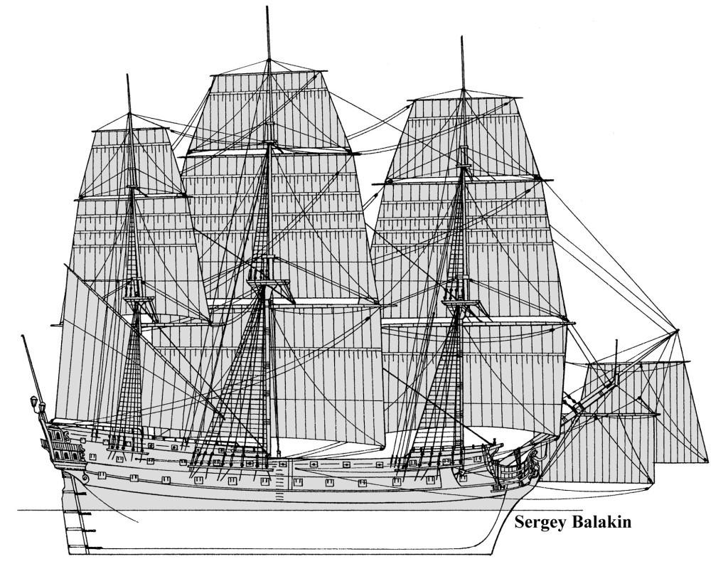 «Три Иерарха» - типичный представитель крупной серии 66-пушечных кораблей Российского флота. Вступил в строй в 1766 г. Водоизмещение – около 1200 т. Вооружение состояло из 26 24-фунтовых, 24 12-фунтовых и 16 6-фунтовых пушек.