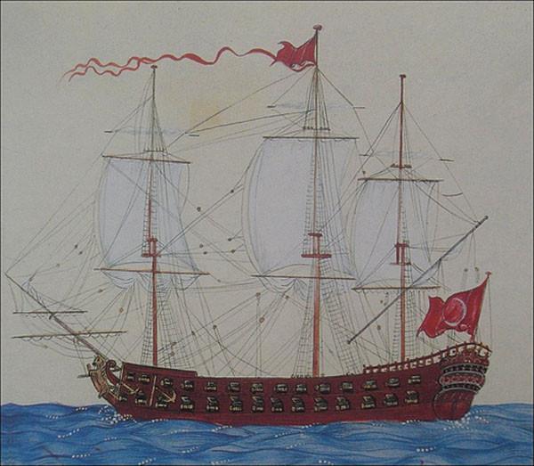 Старинные турецкие миниатюры, изображающие корабли османского флота XVIII века