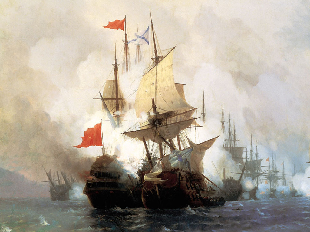 Хиосское сражение (фрагмент), художник И.К.Айвазовский. На картине изображена абордажная схватка кораблей «Св. Евстафий Плакида» и «Бурджу-Зафер». Последний часто ошибочно именуется «Реал Мустафа»