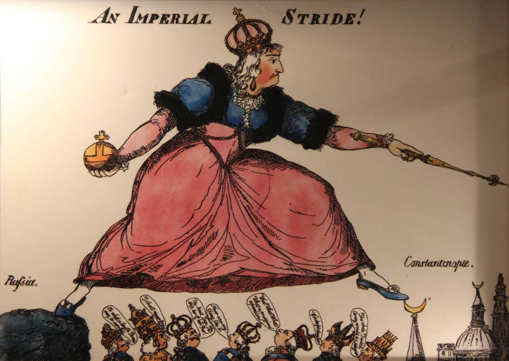 Английская карикатура на Екатерину II, стремящуюся захватить Константинополь