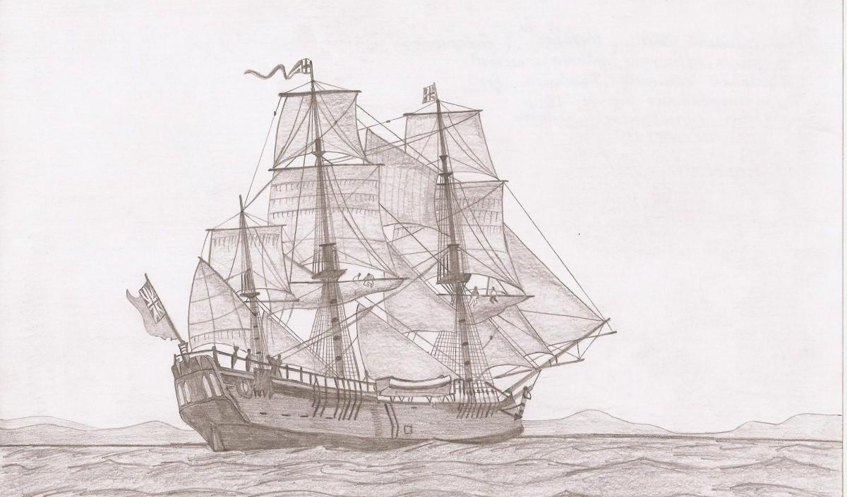 HMS Indevor. Корабль на котором Джеймс Кук совершил первое кругосветное путешествие.
