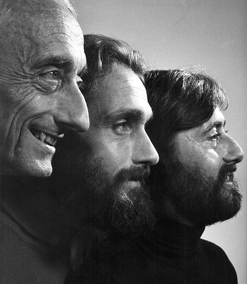 Жак-Ив Кусто с сыновьями - Филип и Мишель.