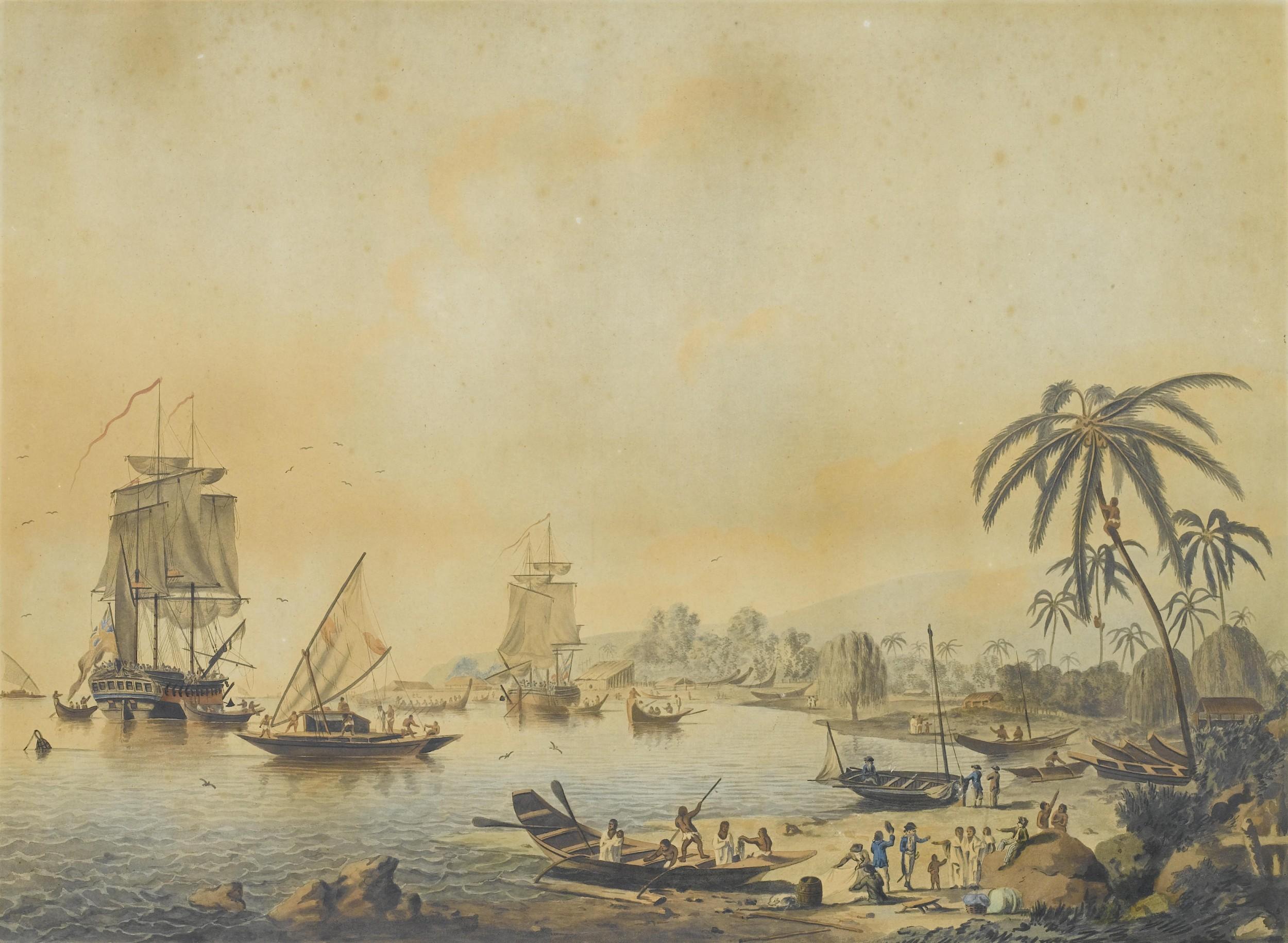 John_Cleveley_the_Younger,_Views_of_the_South_Seas_ Блай, Уильям. Форстер, Георг. Джеймс Кук, Таити  Полинезия