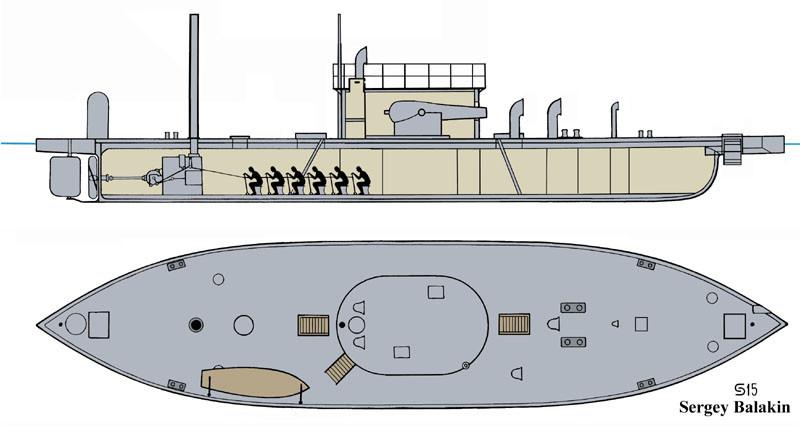 Схема общего расположения канонерской лодки «Шёльд». Реконструкция автора