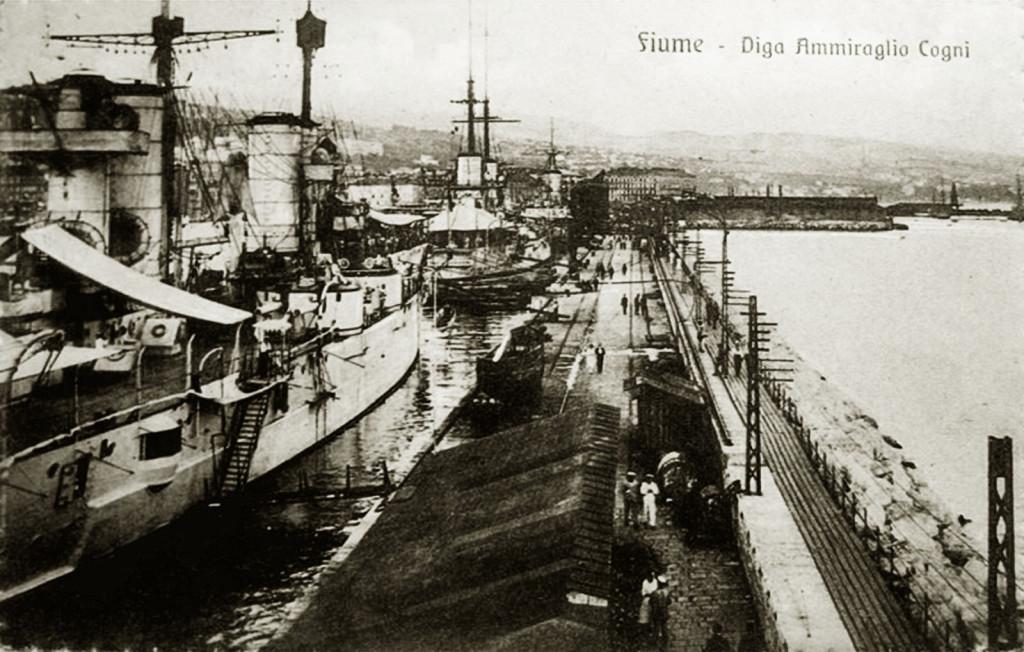 Броненосный крейсер «Сан-Марко», линкор «Данте Алигьери» и броненосец «Эмануэле Филиберто» в гавани Фиуме