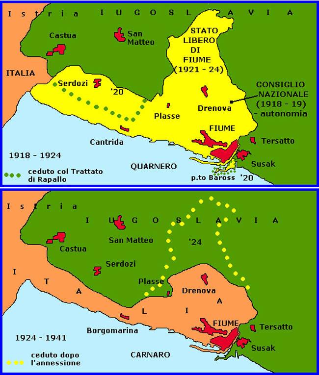 Карта пограничных территорий вокруг Фиуме: в 1918-1924 гг. (вверху) и в 1924-1941 гг. (внизу)
