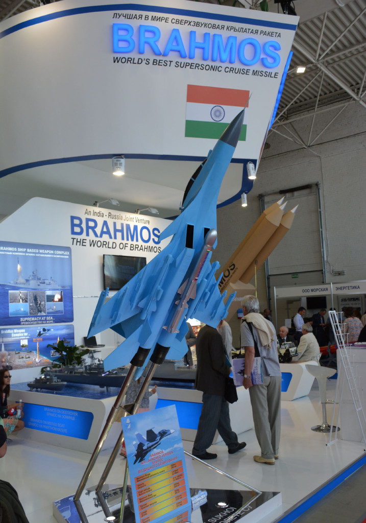 На стенде российско-индийской компании «Брамос» (BrahMos Aerospace) была представлена модификация знаменитой ПКР авиационного базирования