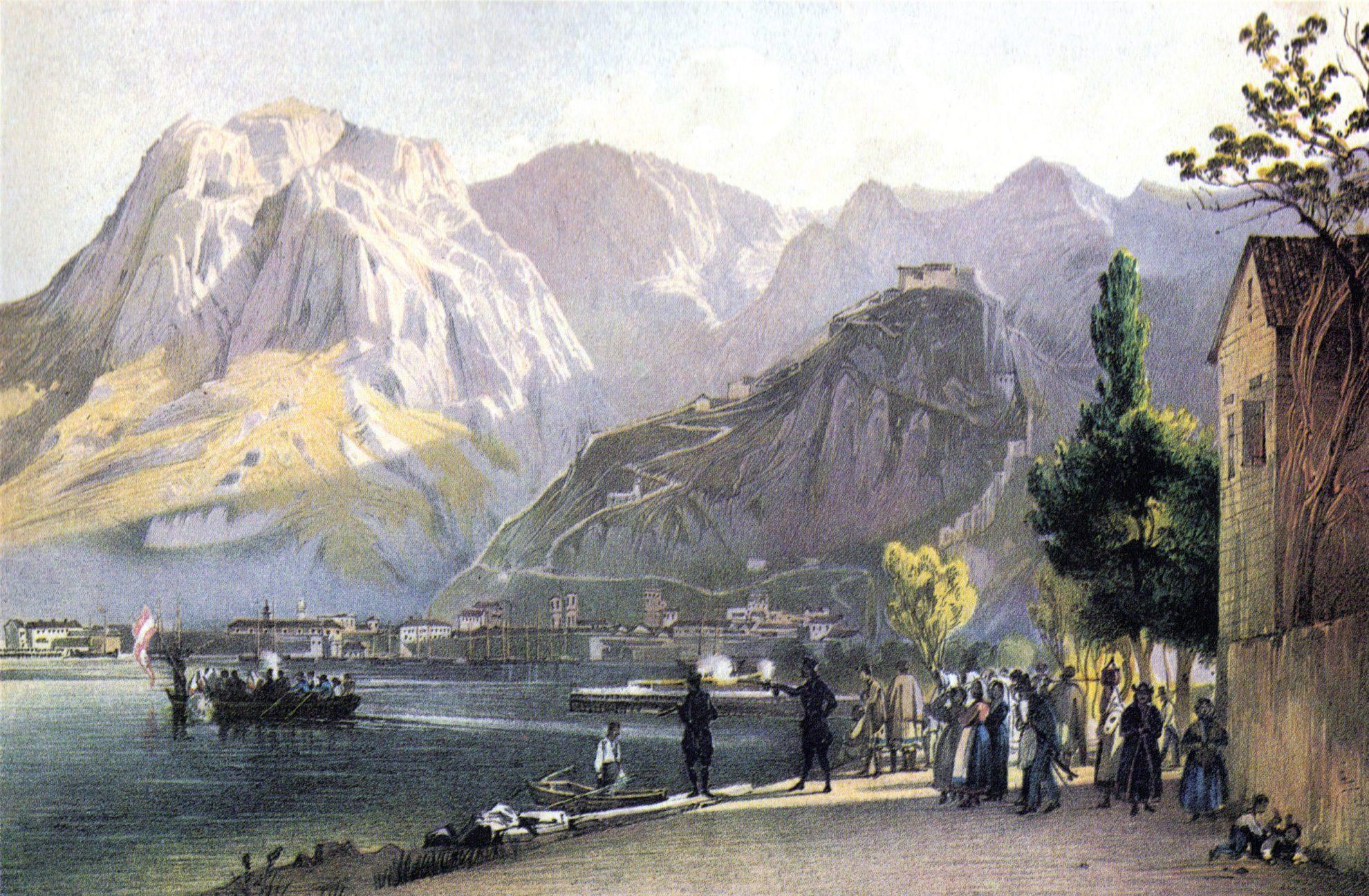 Вид на Которский залив. Д.Альт. Около 1840 года