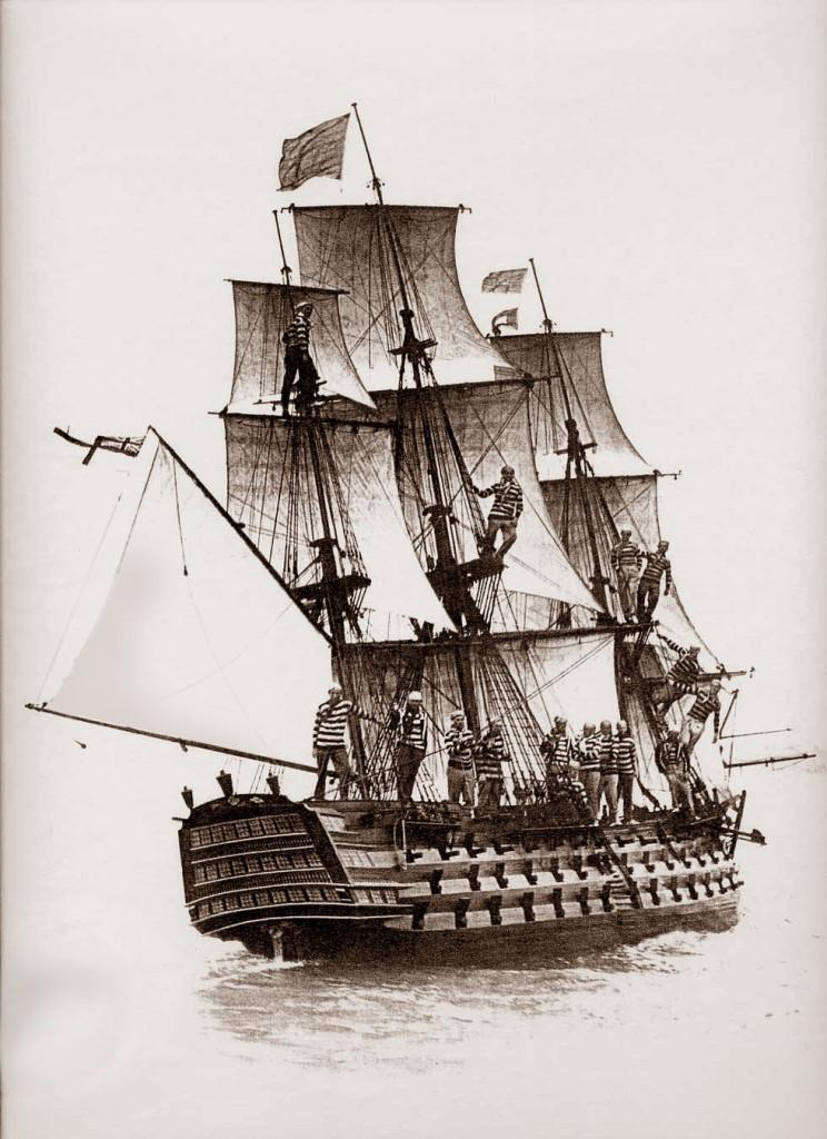 Модель линейного корабля «Виктори» и её экипаж, 1934 г.