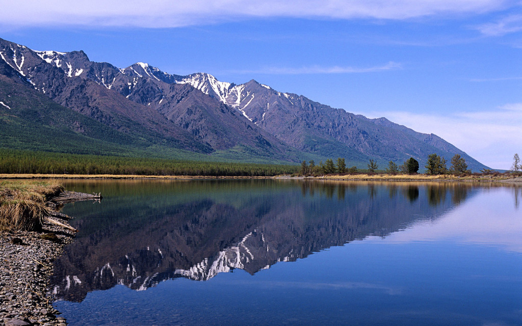 ??. ?????? ? ?????, ?????? (View of Baikal Lake with Sayan Mount