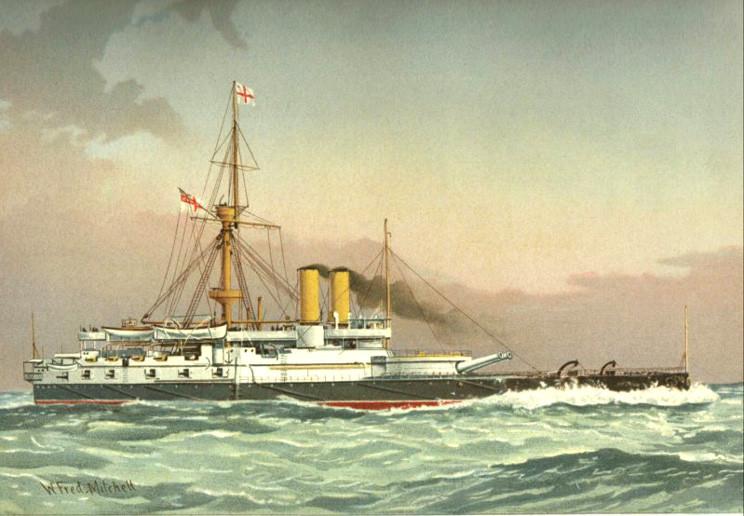 Английский броненосец «Victoria», окрашенный в так называемые «викторианские» цвета, литография художника Вильяма Митчелла. И корабль, и его окраска получили названия в честь королевы Виктории - именно при ней британский флот достиг вершины своего могущества.