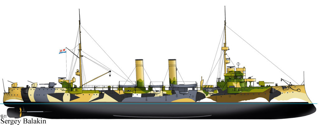 Старый крейсер, а в годы войны минный заградитель «Коминтерн» в 1942 г. получил камуфляж, сочетавший свойства и маскировочной, и искажающей окраски