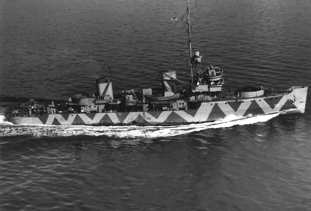 Схему камуфляжа, которую нёс американский эскадренный тральщик «Raven», моряки называли «пилой» или «зигзагом»