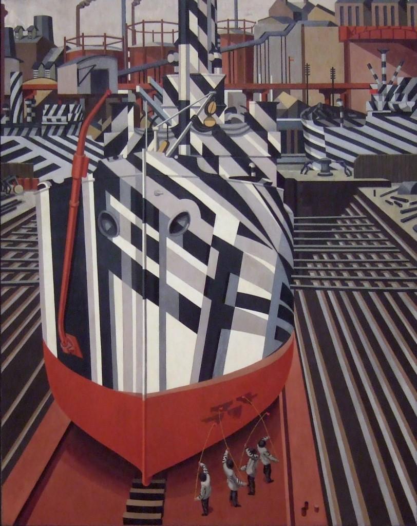 Морской камуфляж в живописи: картина художника Эдварда Уэдсворта «Корабль в Ливерпуле», 1919 г. Искажающий камуфляж не только был порождён кубизмом, но и время от времени становился «героем» картин приверженцев данного течения в живописи.