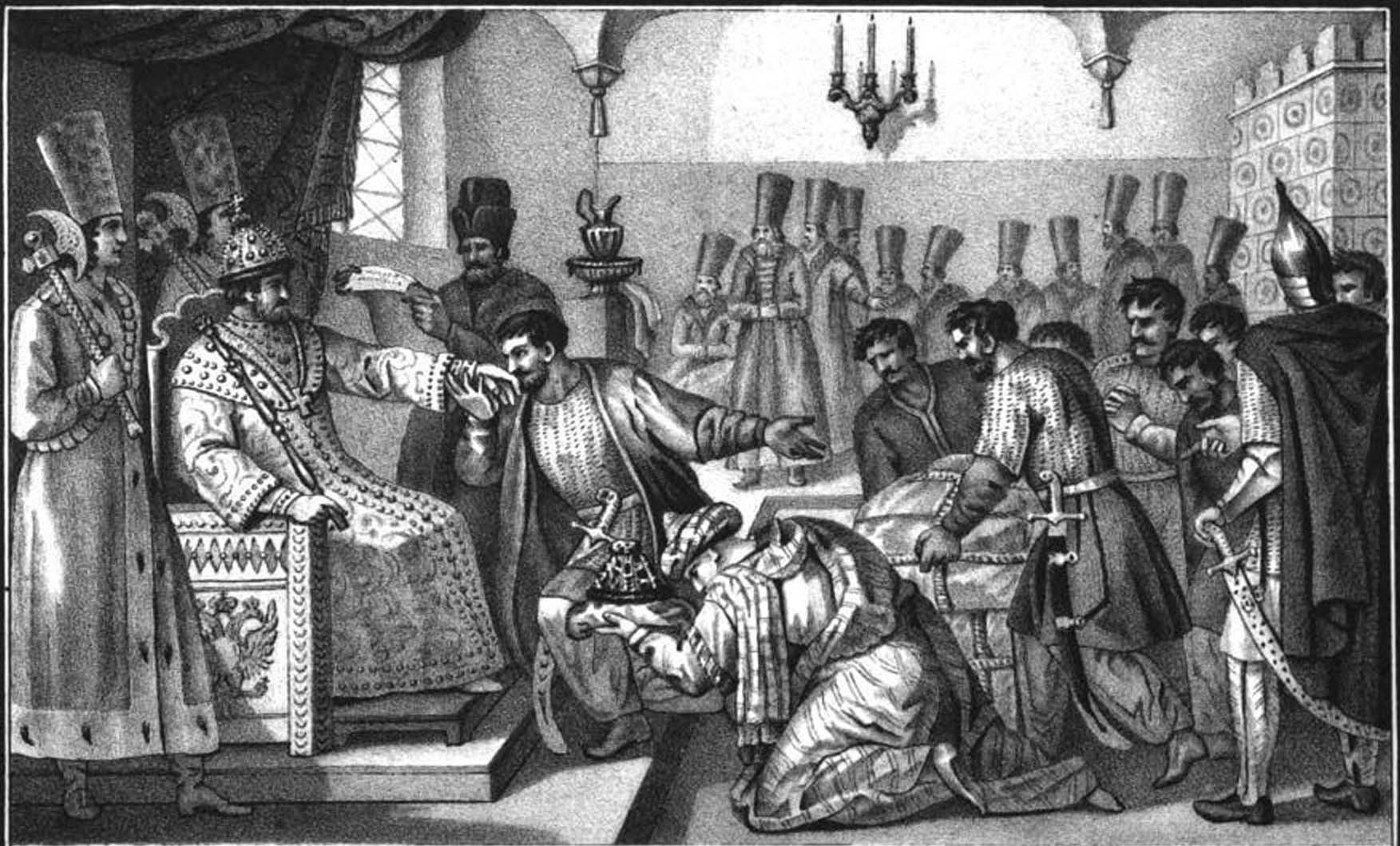Послы Ермаковы атаман Кольцо с товарищами явились в Москве, бить челом Иоанну царством Сибирским, драгоценными соболями, черными лисицами и бобрами.