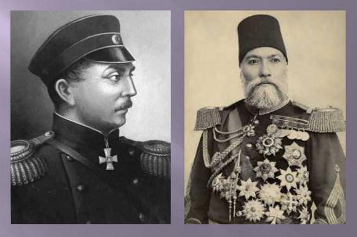 Командующие эскадрами противоборствующих сторон: П.С.Нахимов и Осман-паша