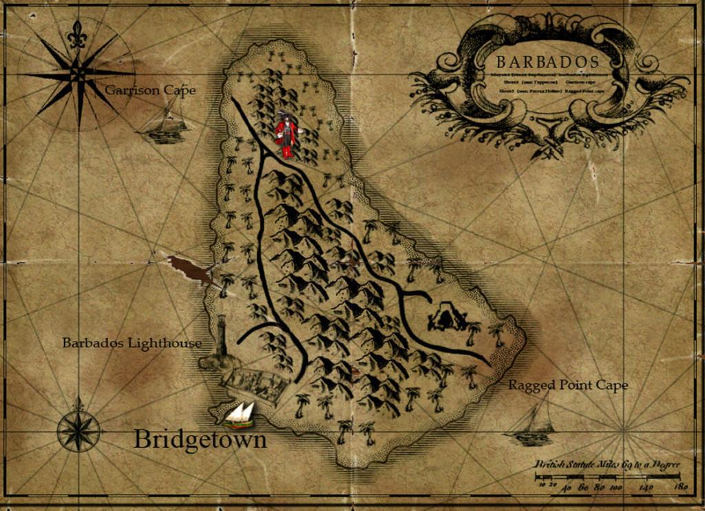 Старинная карта острова Барбадос