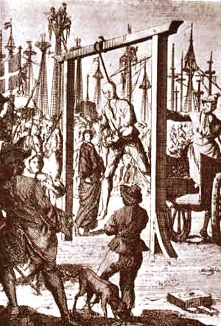 Казнь Стида Боннета. Иллюстрация из книги Чарльза Джонсона (Даниэля Дефо) «История пиратов» (1725 г.)