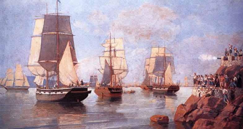 Жители острова Идра встречают корабли адмирала Миаулиса