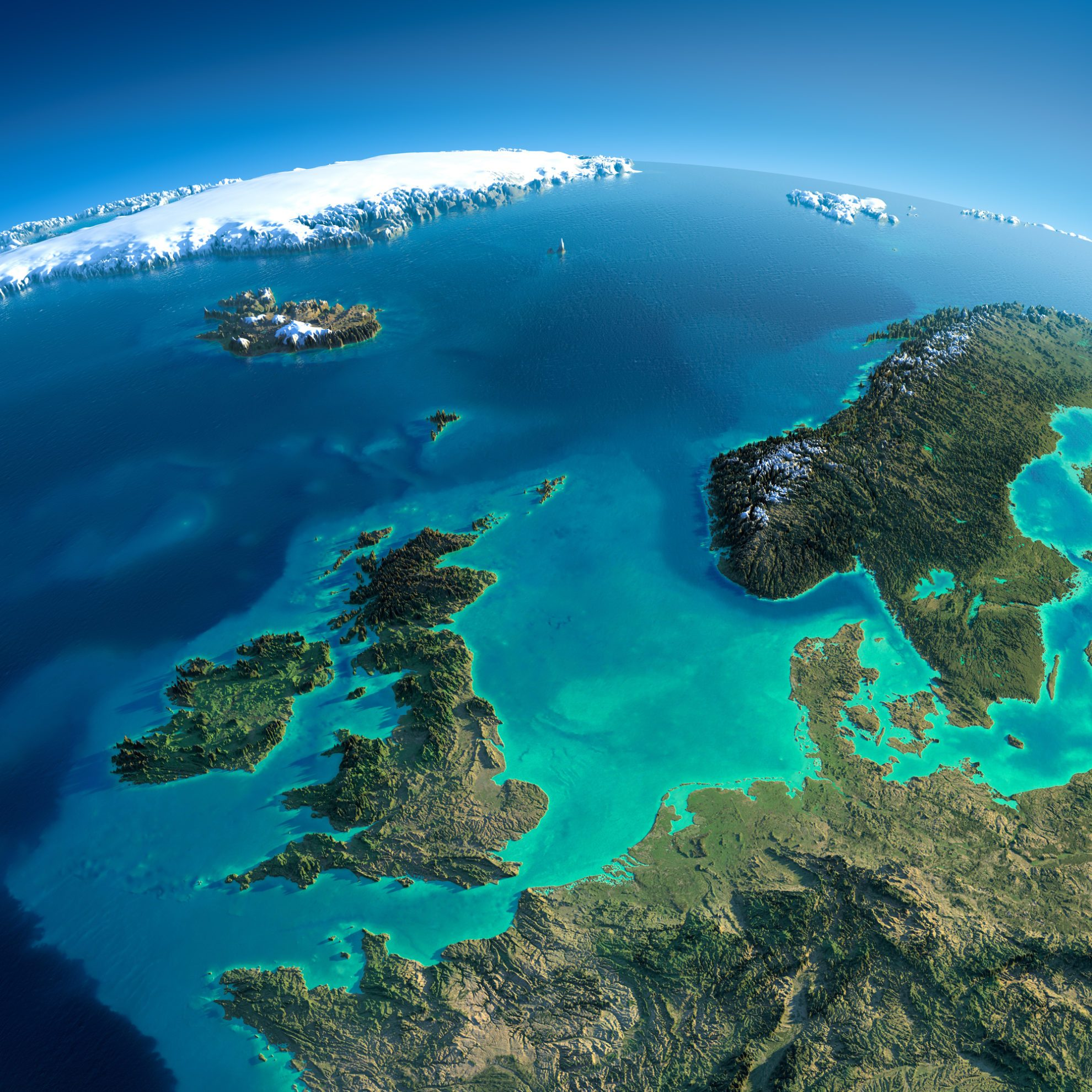 Highly detailed planet Earth in the morning. Exaggerated precise relief lit morning sun. Detailed Earth. United Kingdom and the North Sea. Elements of this image furnished by NASA