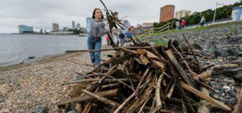 Жители Владивостока вычистили пляж после урагана