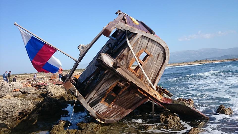 Обломки лодьи на камнях острова Вардиеной