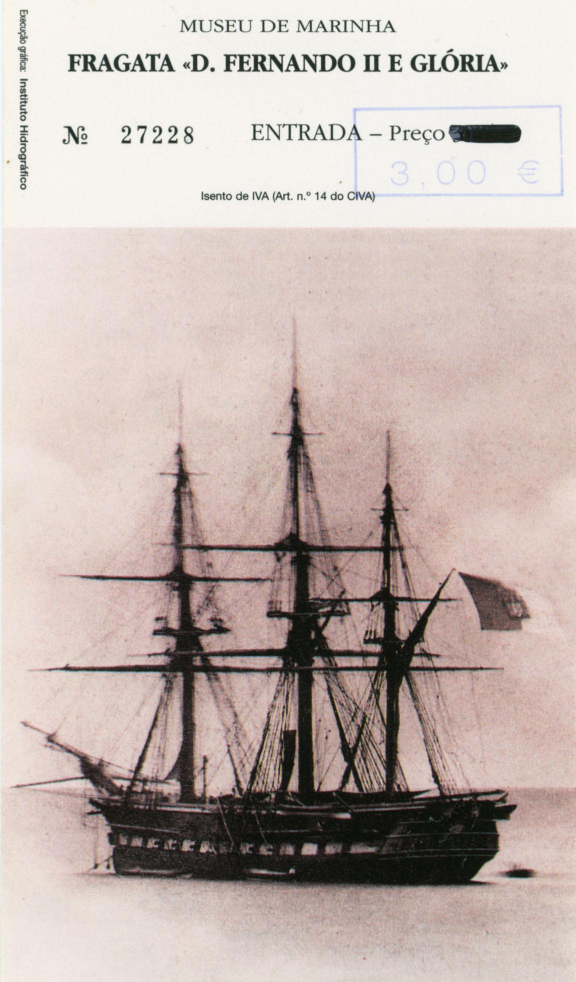Входной билет на корабль-музей украшает редкая фотография - «Дон Фернанду II» в 1878 году. На билете проштампована и его цена – 3 евро.
