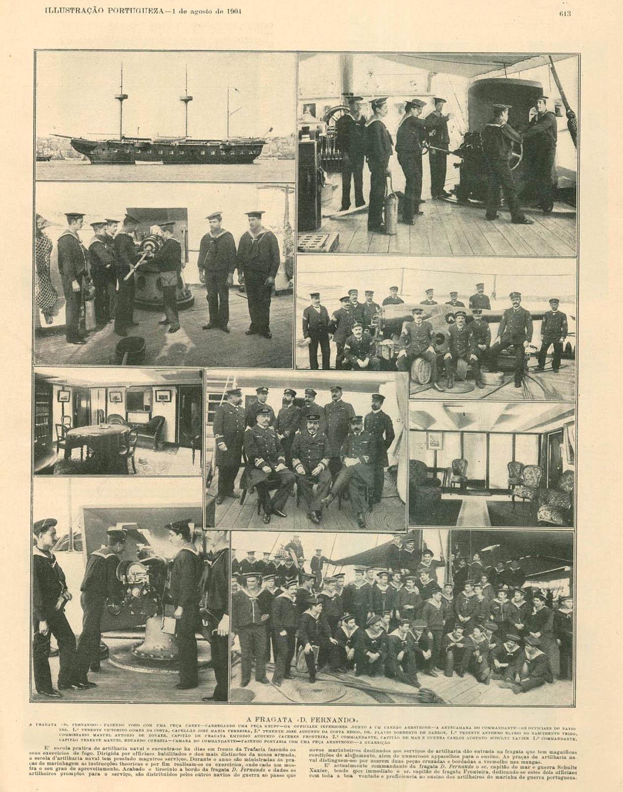 Страница из португальского иллюстрированного журнала 1904 года – репортаж с борта учебного судна «Дон Фернанду II э Глория».