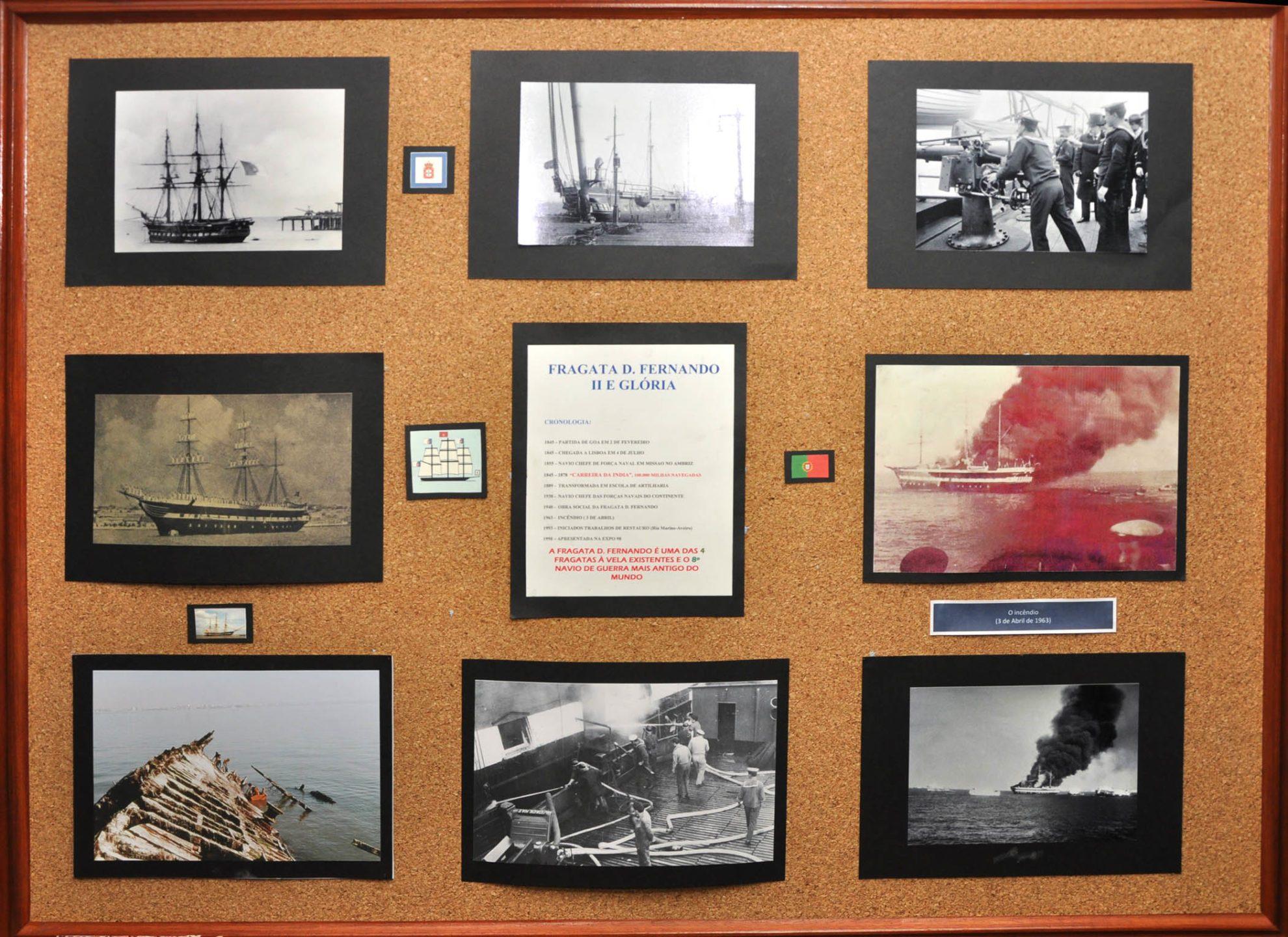Стенд с фотографиями фрегата «Дон Фернанду II э Глория» в экспозиции на борту корабля-музея.