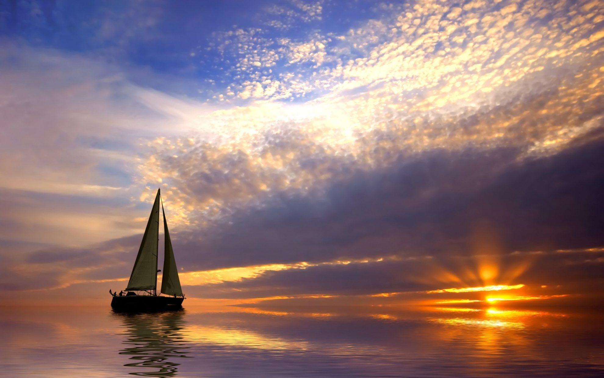 boat-sea-dusk-nature-wallpaper-1800x2880