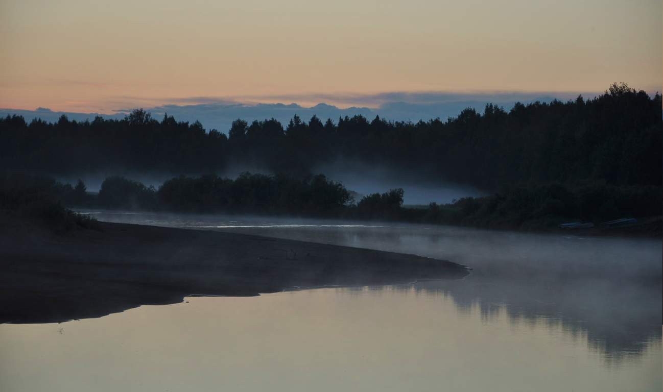 Вечерний туман  на Вычегде.