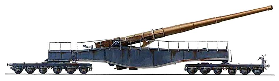Немецкое 28-см оружие на железнодорожном ходу.