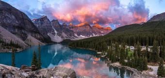 Закат на озере .