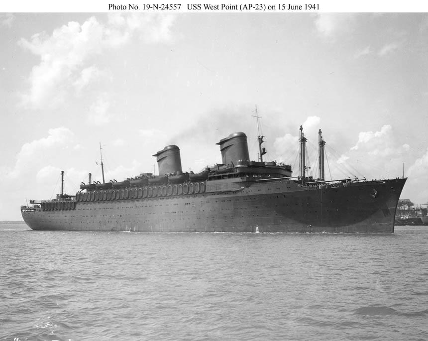 С новым именем на борту: транспорт АР-23 «Вест Пойнт», июнь 1941 г.