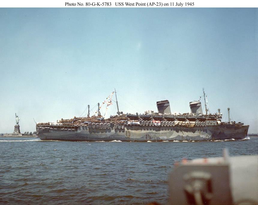 «Вест Пойнт» - «Серый призрак» - в Нью-Йорке, 11 июля 1945 г.