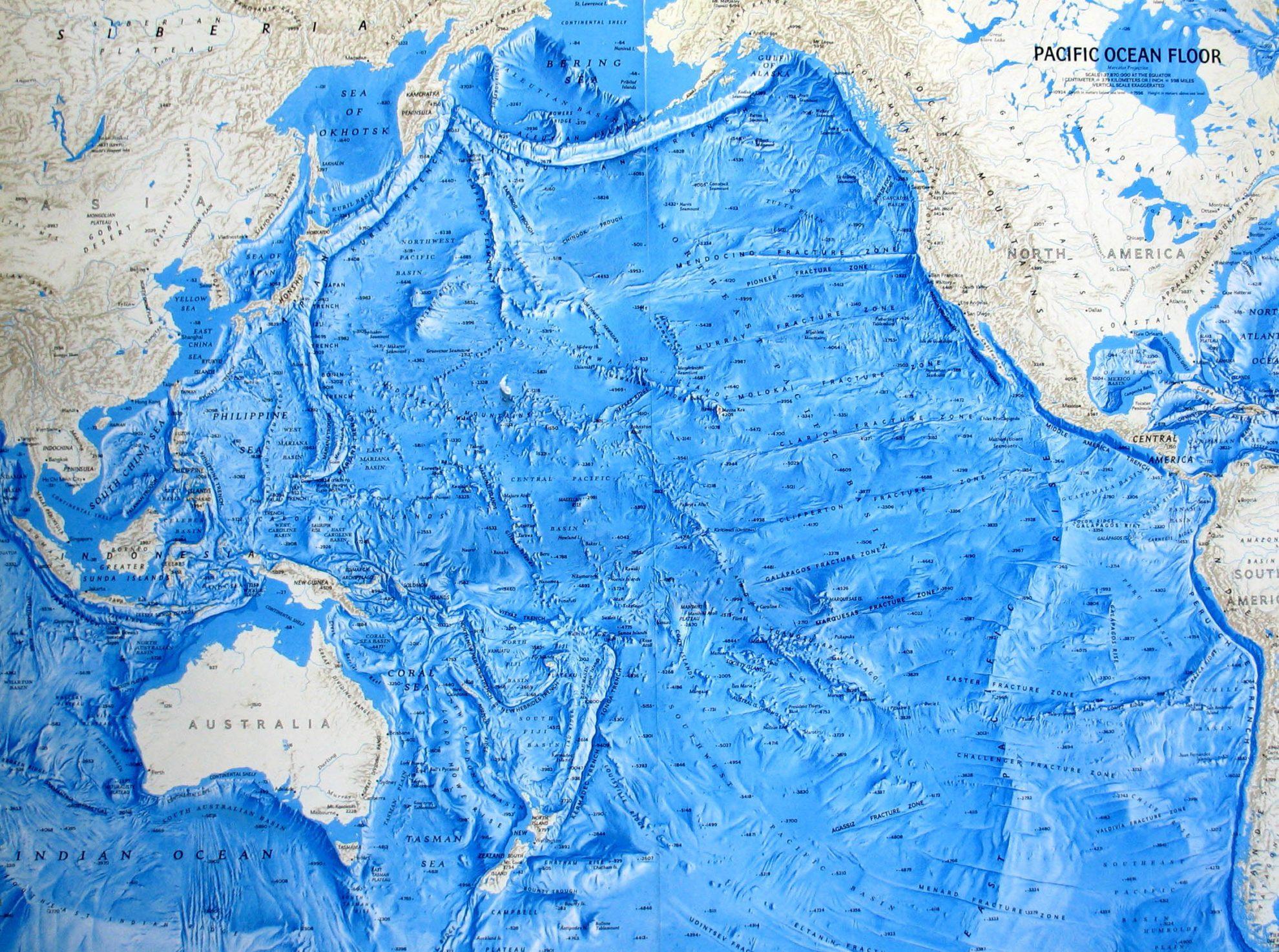 Тихий океан. Карта.