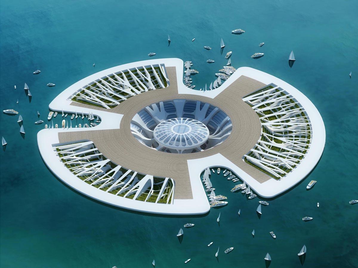 Так должна выглядеть яхтенная марина в проекте Lilypad