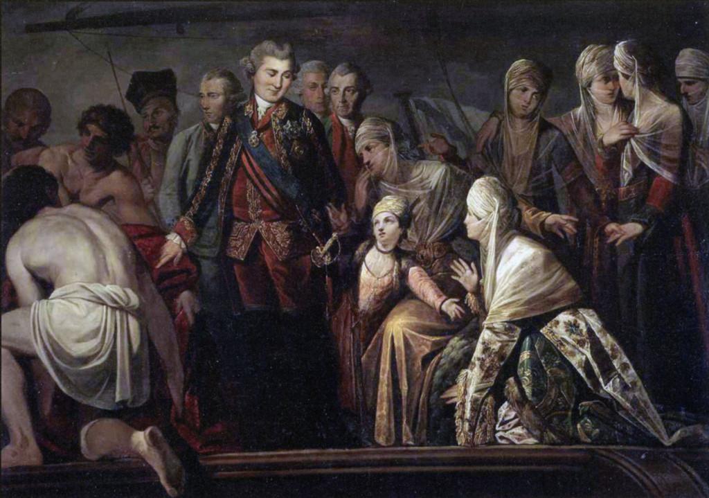 Граф А.Г.Орлов среди местного населения греческих островов. Картина неизв. художника