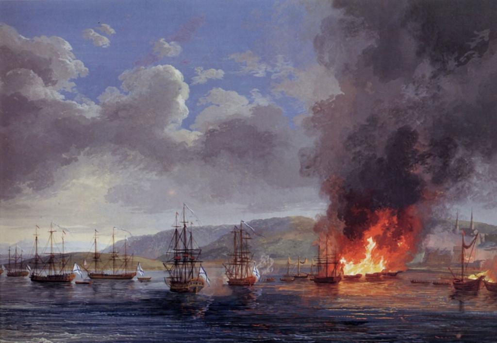 Чесменское сражение. Художник Я.Ф.Хаккерт, 1771 г.